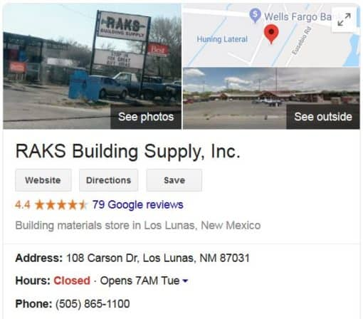 Visit Raks Building Supply - Los Lunas
